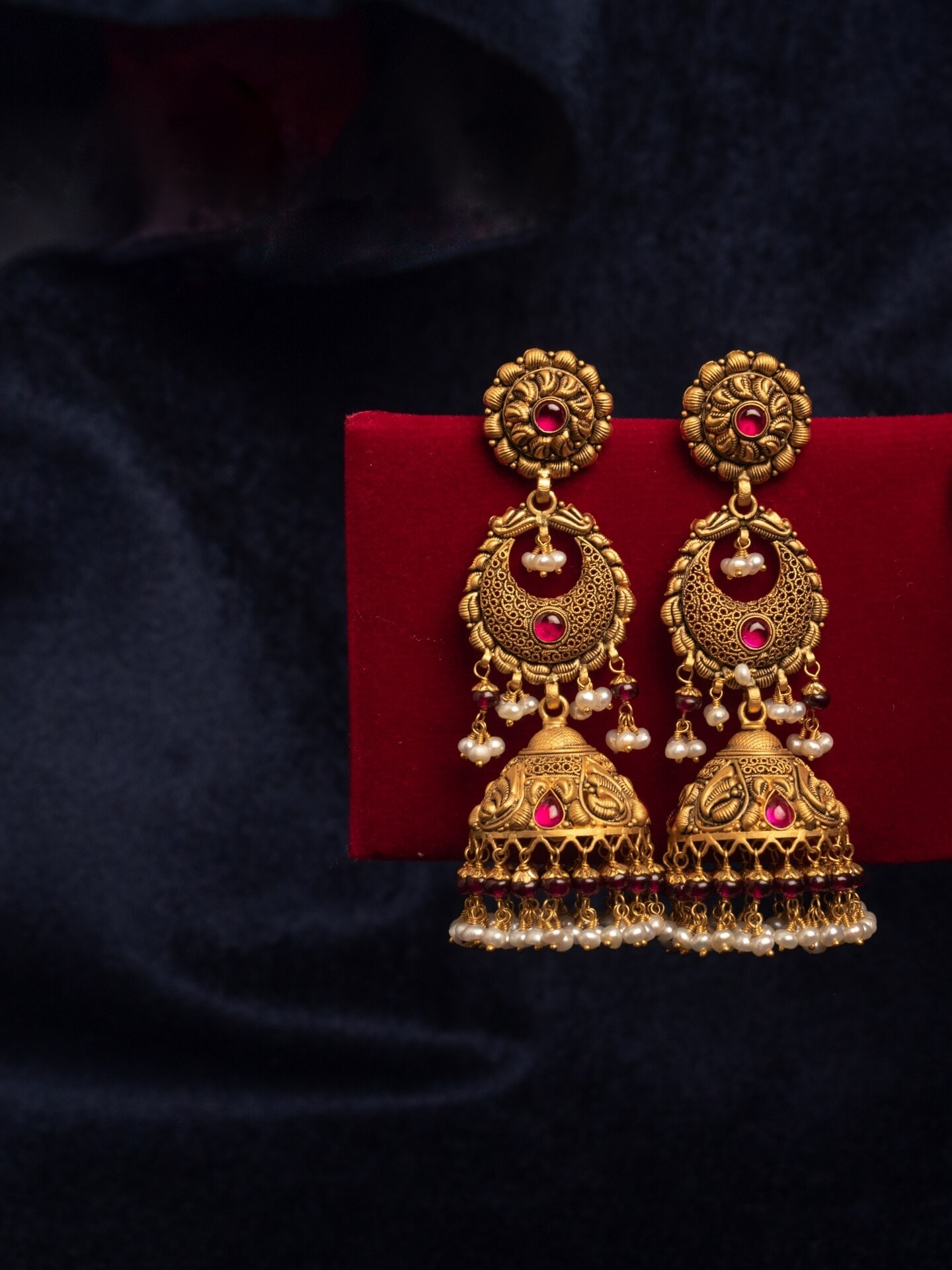 Temple Style Jhumkis with Bareek Work