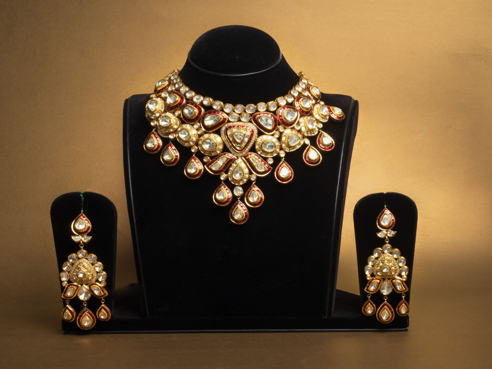 Polki Necklace Set with Red Enamel Work