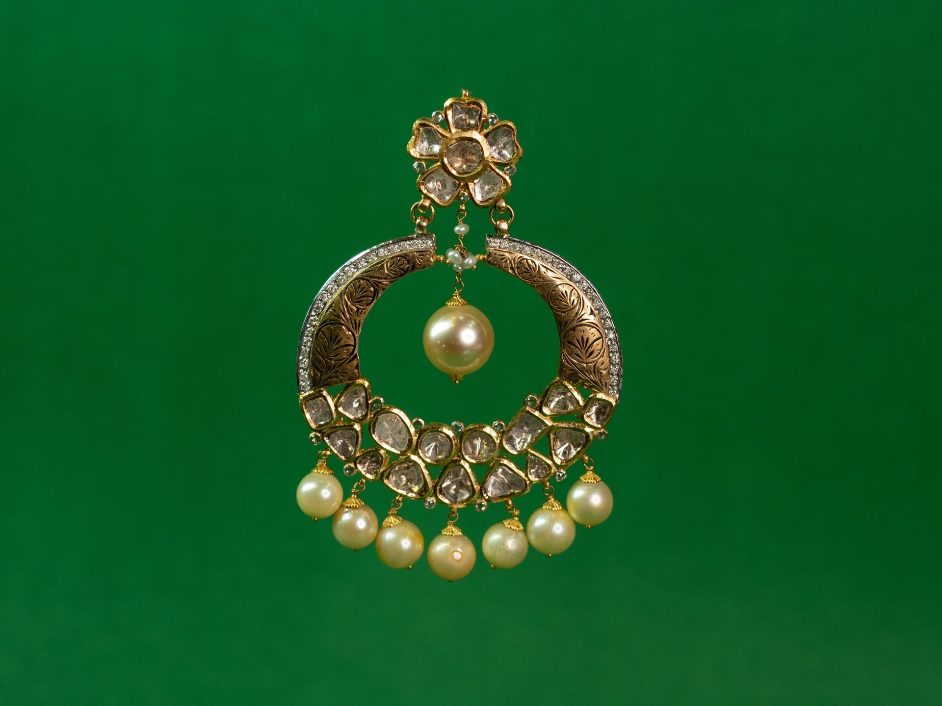 Polki Chandbali with Cut Diamonds and Pearl Drops